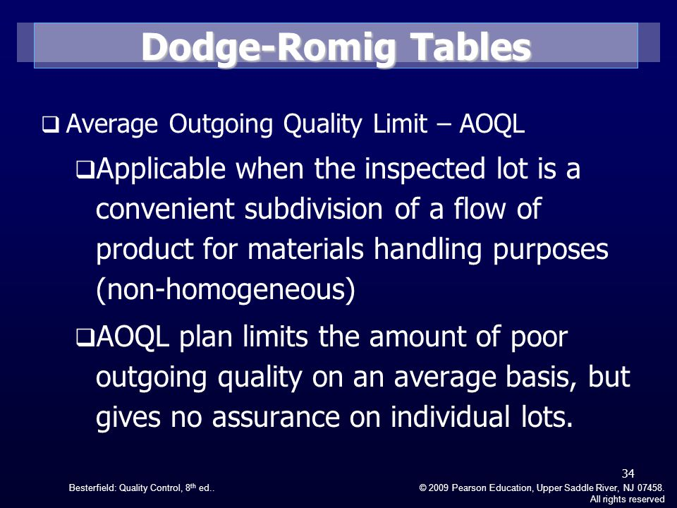 Dodge-Romig Tables Average Outgoing Quality Limit – AOQL.