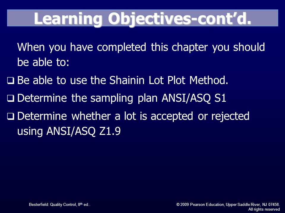Learning Objectives-cont'd.