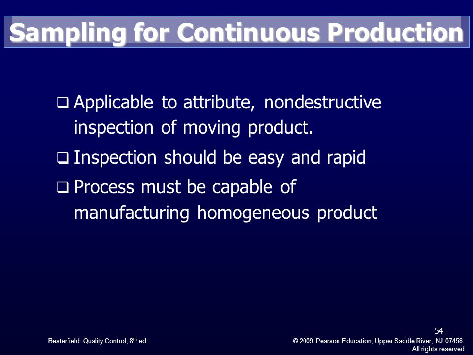 Sampling for Continuous Production