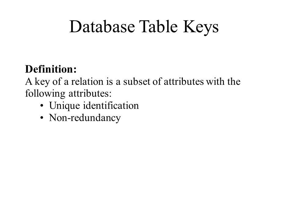 Database Table Keys Definition: