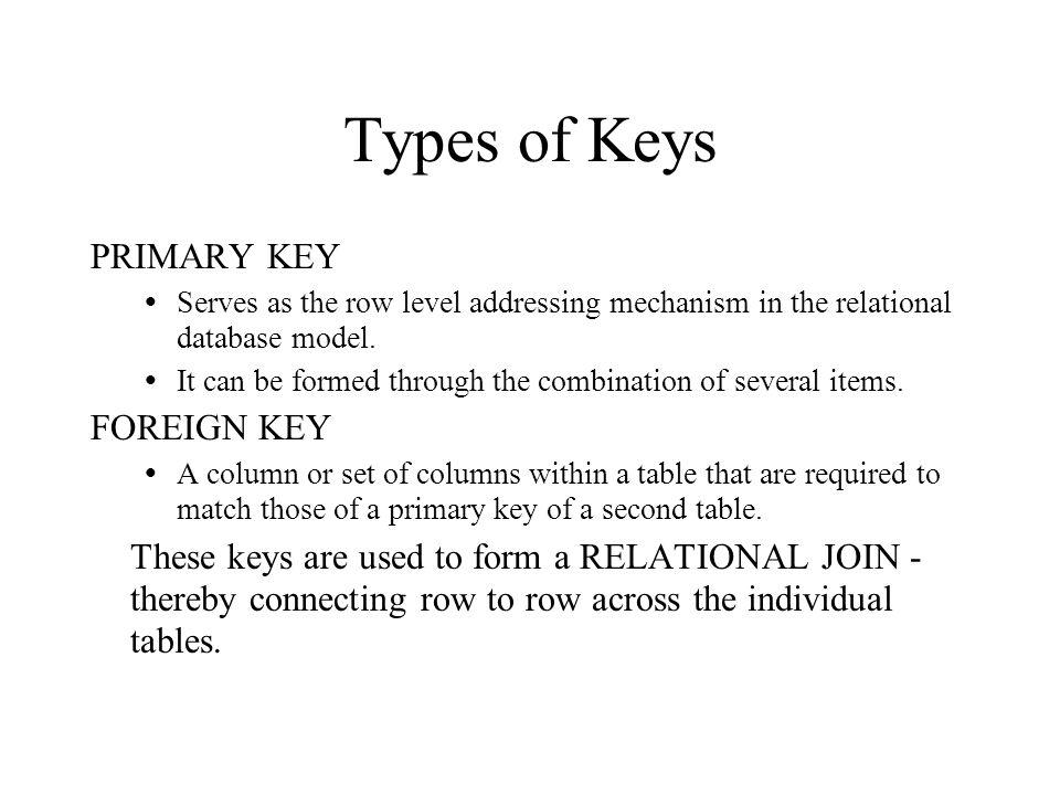 Types of Keys PRIMARY KEY FOREIGN KEY