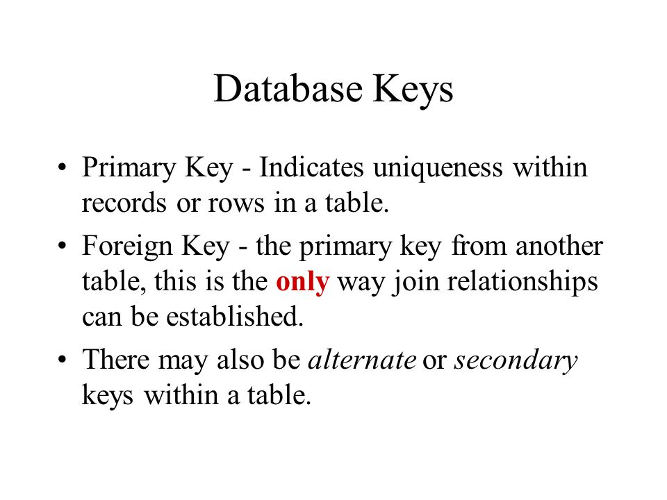 Database Keys Primary Key - Indicates uniqueness within records or rows in a table.