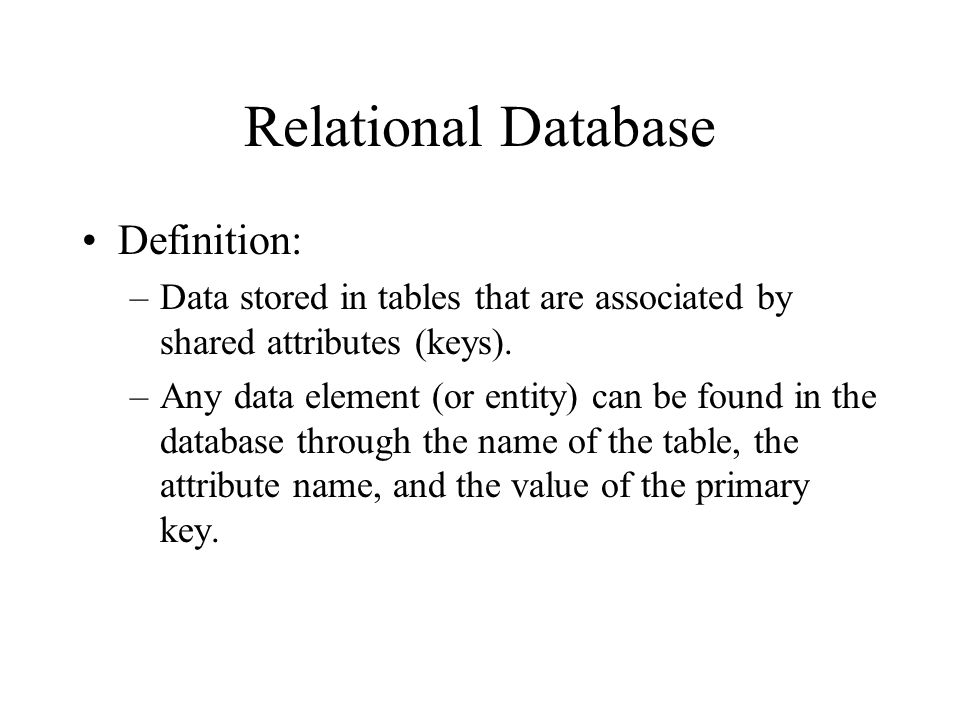 Relational Database Definition: