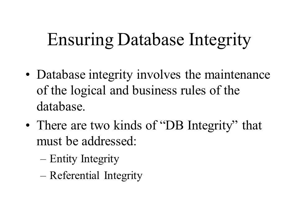 Ensuring Database Integrity