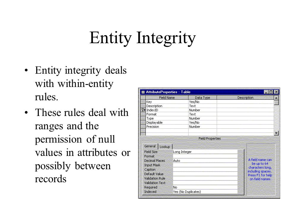 Entity Integrity Entity integrity deals with within-entity rules.