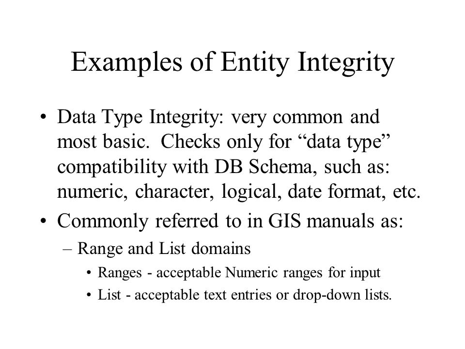 Examples of Entity Integrity