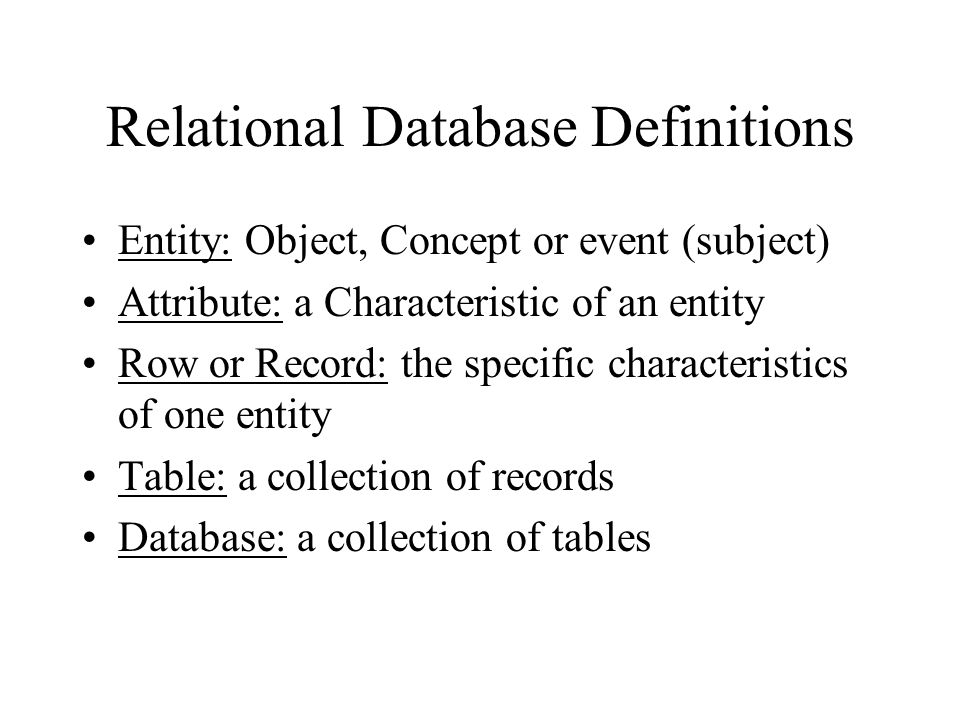 Relational Database Definitions