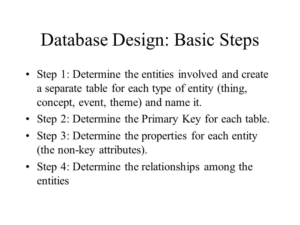Database Design: Basic Steps