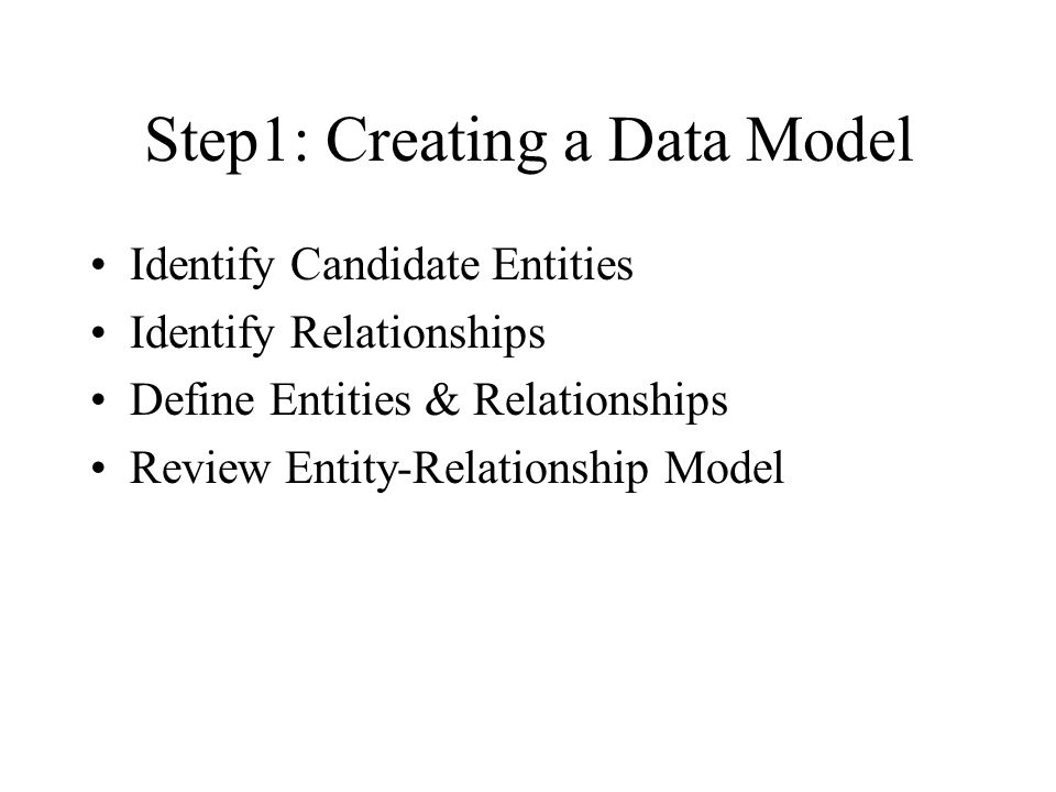 Step1: Creating a Data Model