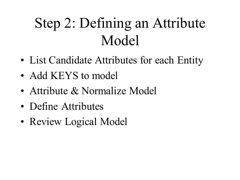 Step 2: Defining an Attribute Model
