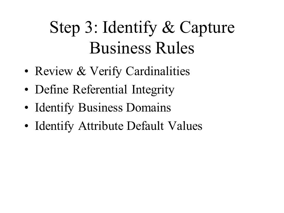 Step 3: Identify & Capture Business Rules