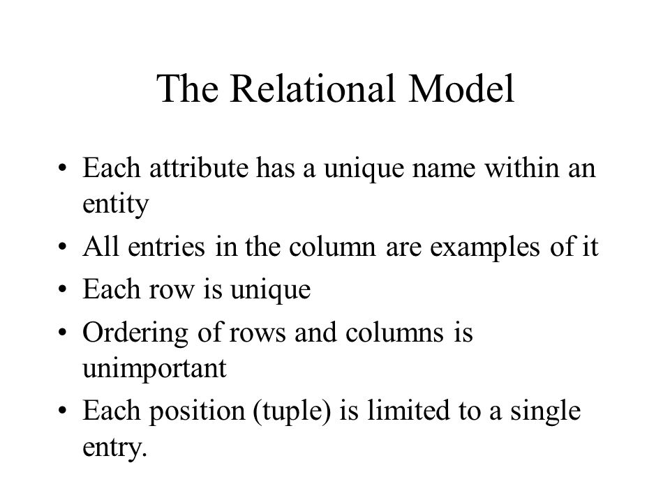 The Relational Model Each attribute has a unique name within an entity