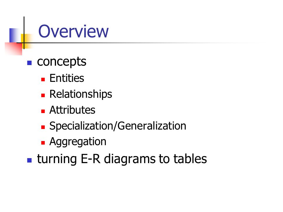 Overview concepts turning E-R diagrams to tables Entities