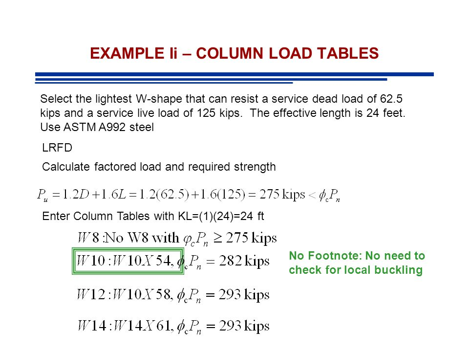 EXAMPLE Ii – COLUMN LOAD TABLES