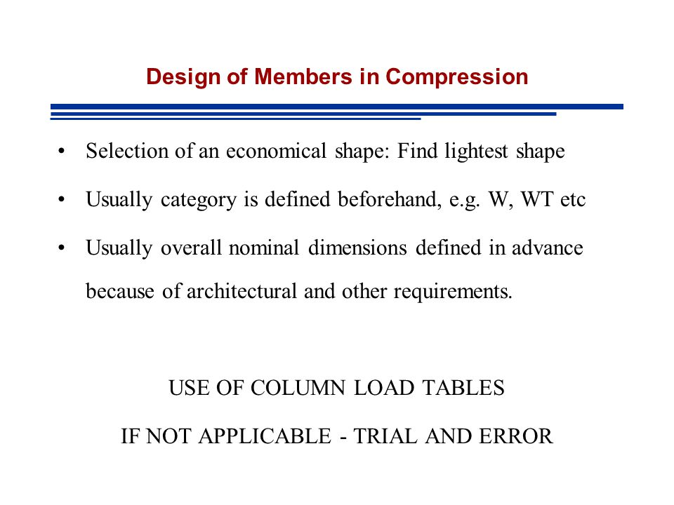 Design of Members in Compression