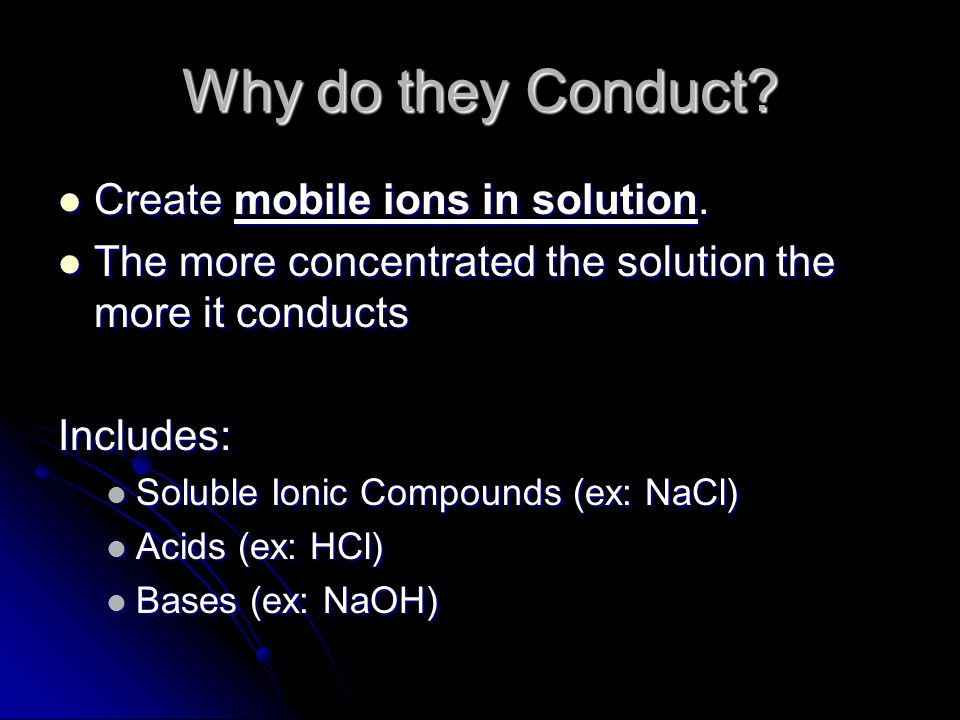 Why do they Conduct Create mobile ions in solution.