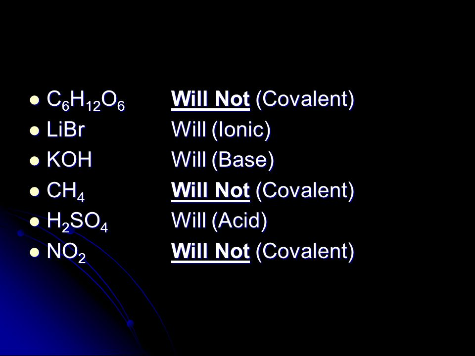 C6H12O6 Will Not (Covalent)