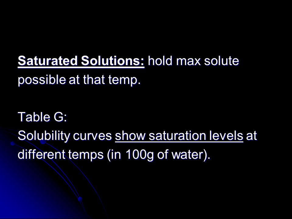 Saturated Solutions: hold max solute
