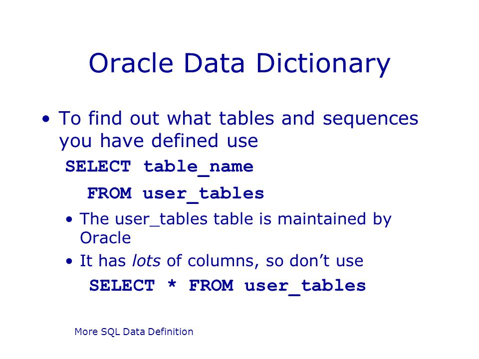 Oracle Data Dictionary