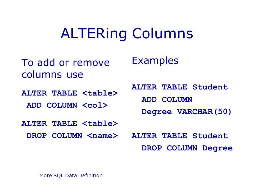 More SQL Data Definition