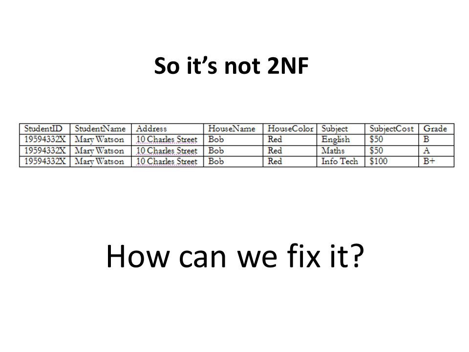 So it's not 2NF How can we fix it