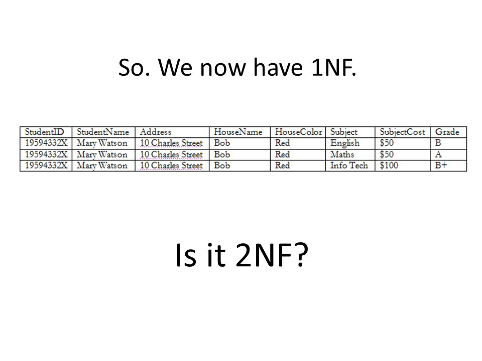 So. We now have 1NF. Is it 2NF