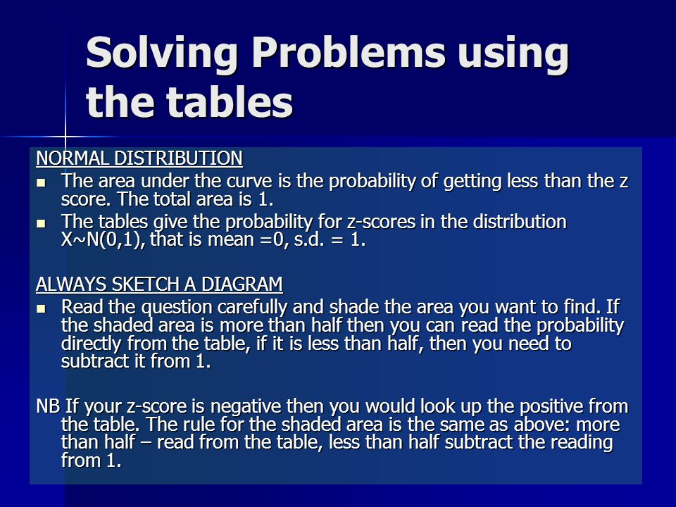 Solving Problems using the tables