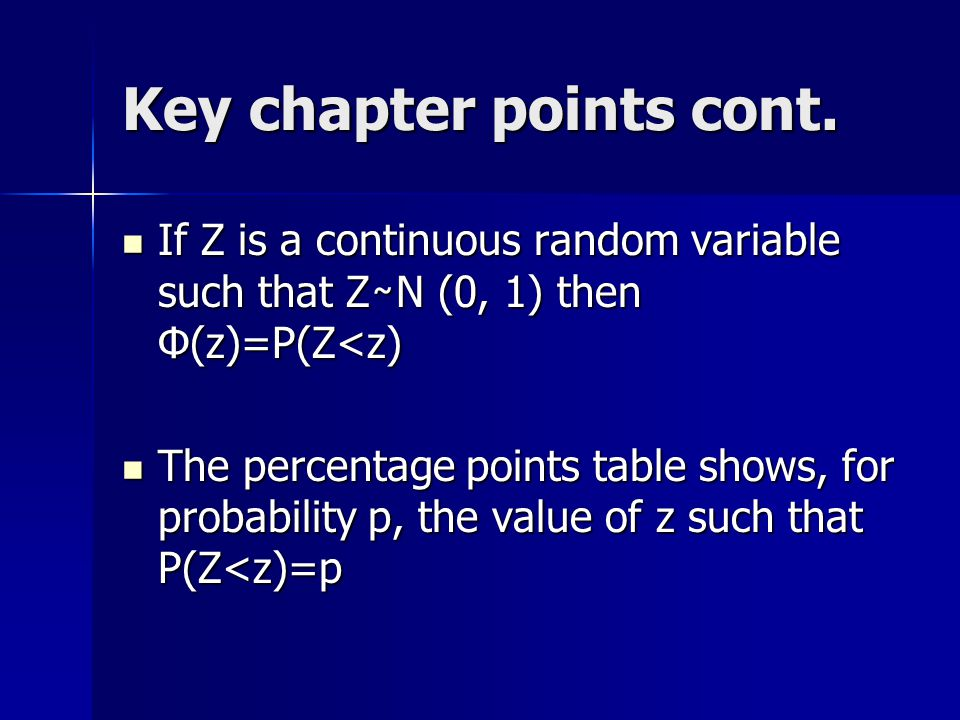 Key chapter points cont.
