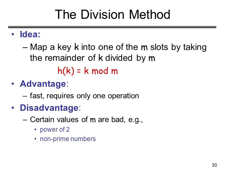 The Division Method Idea: