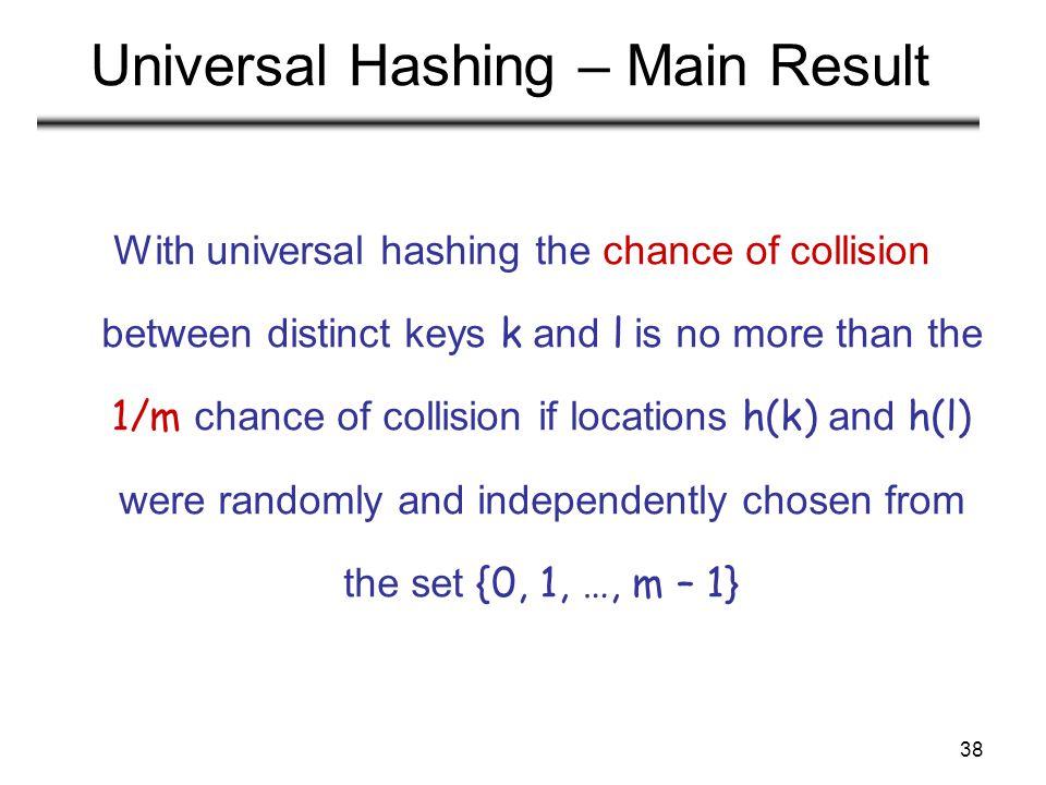 Universal Hashing – Main Result