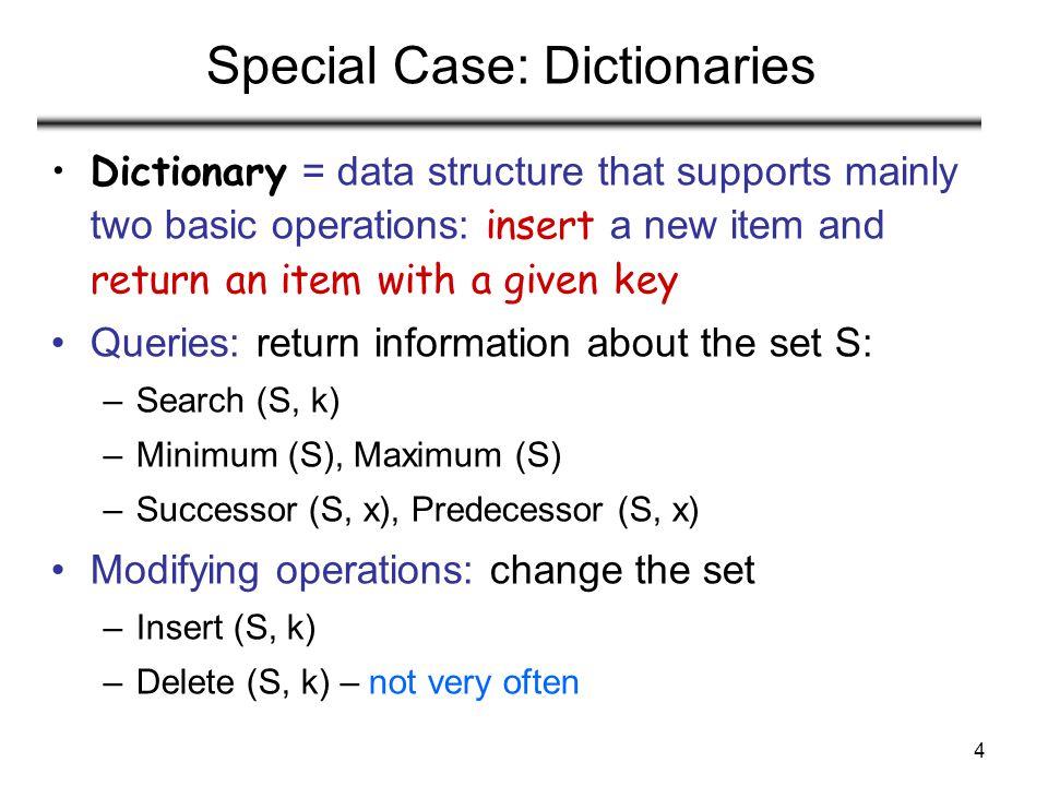 Special Case: Dictionaries