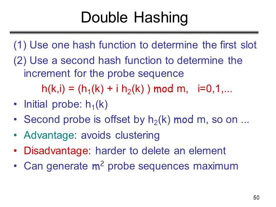 h(k,i) = (h1(k) + i h2(k) ) mod m, i=0,1,...