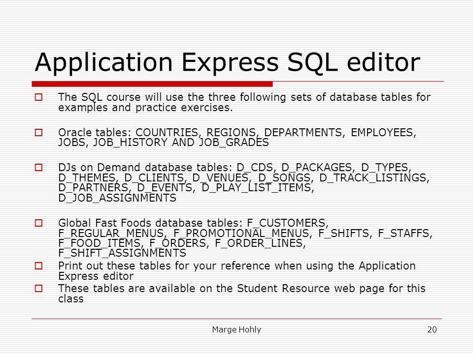 Application Express SQL editor