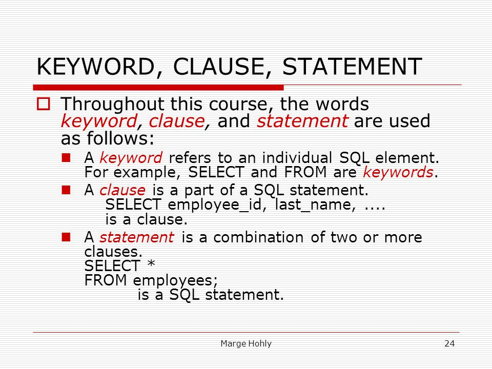 KEYWORD, CLAUSE, STATEMENT