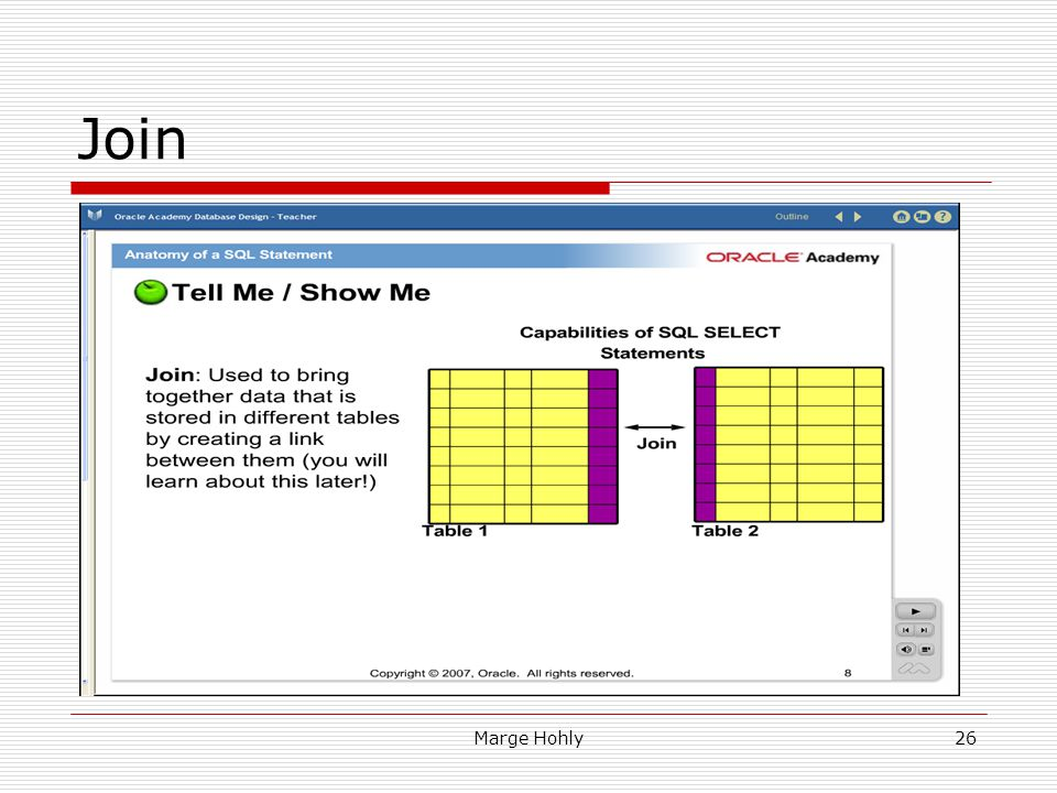 Join Slide 8: Tell Me /Show Me – Join: Used to bring together data that is stored … Join- Display data from two or more related tables.