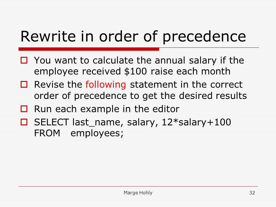 Rewrite in order of precedence