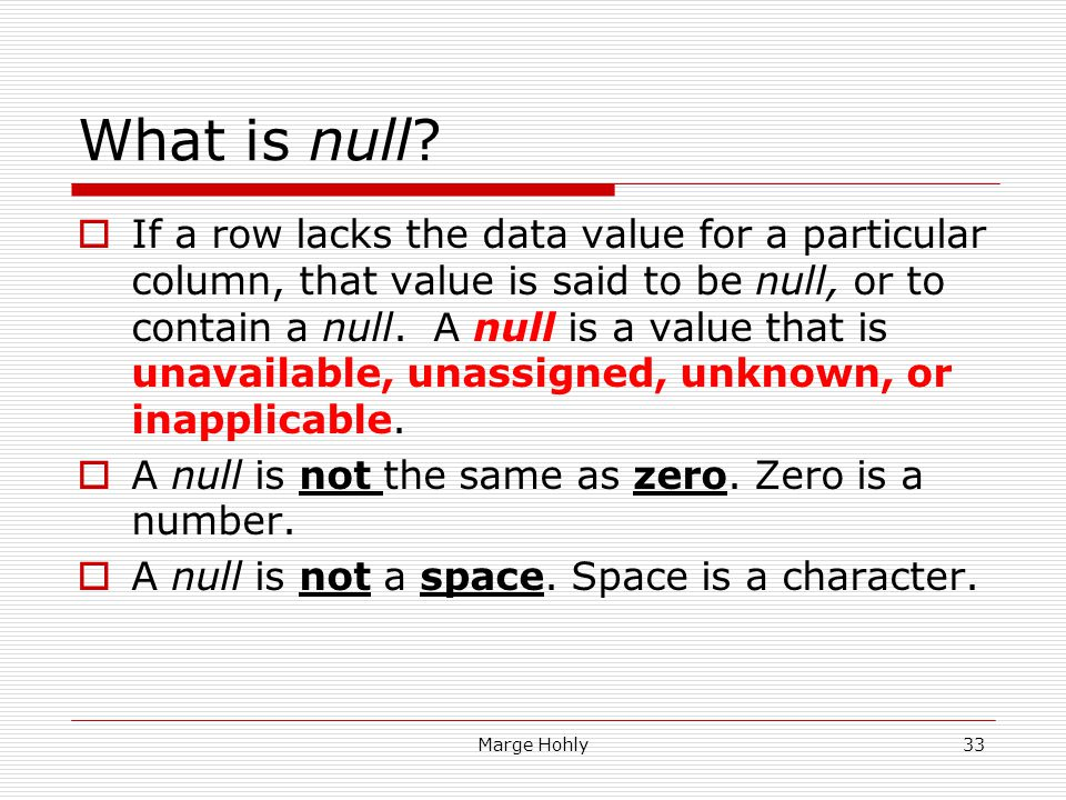 What is null