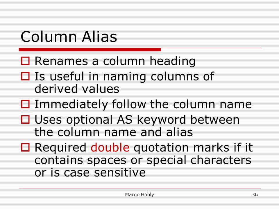 Column Alias Renames a column heading