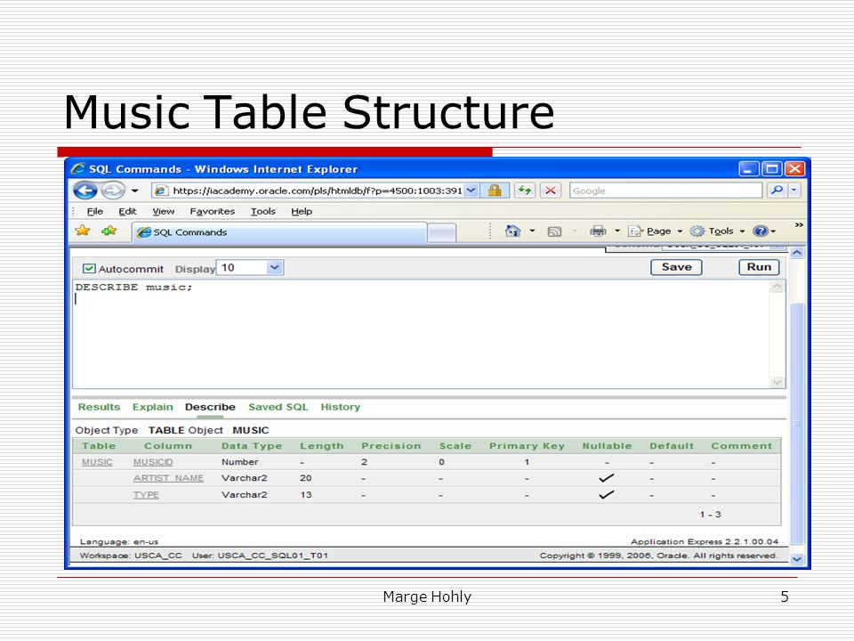 Music Table Structure MUSIC table: Row – describes a music (instance)