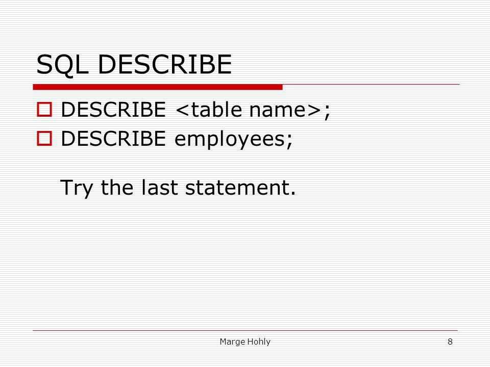 SQL DESCRIBE DESCRIBE <table name>;
