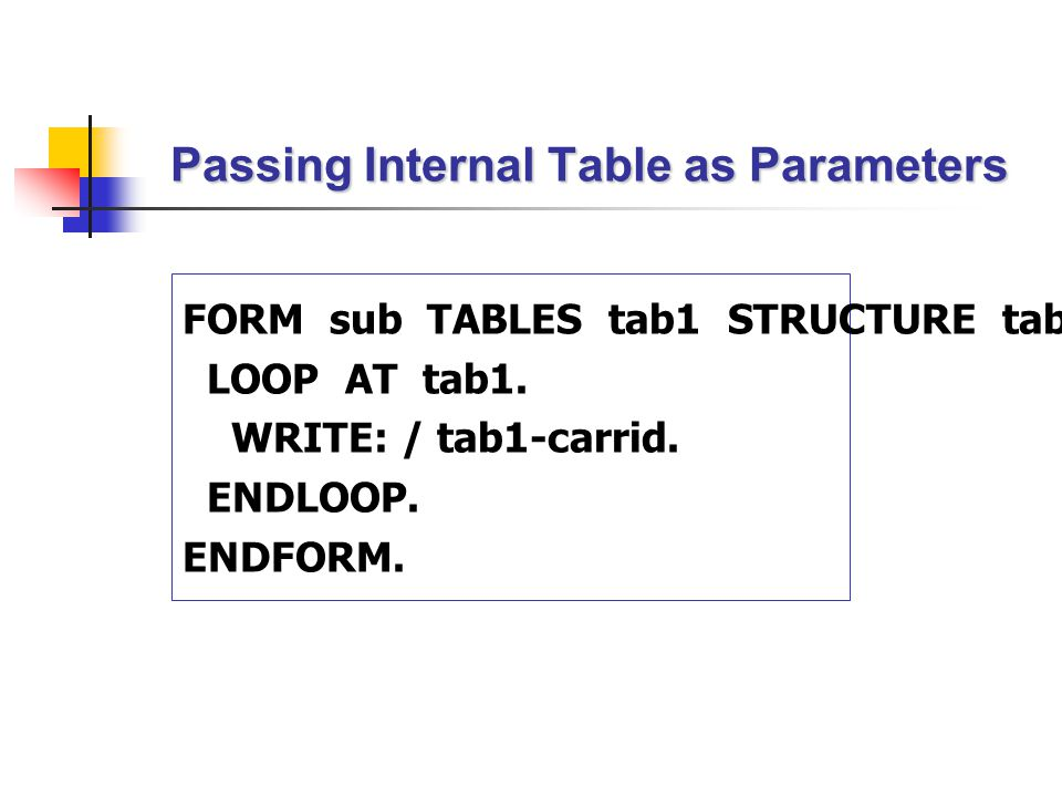 Passing Internal Table as Parameters