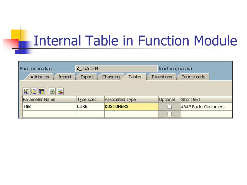 Internal Table in Function Module