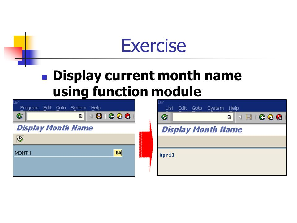 Exercise Display current month name using function module