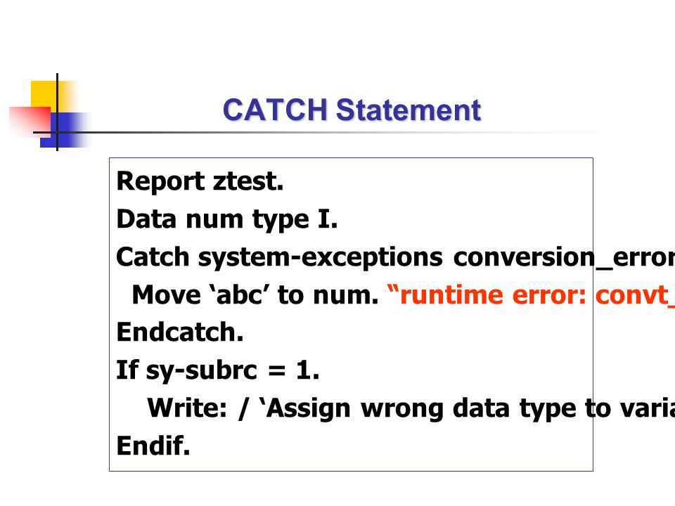 CATCH Statement Report ztest. Data num type I.