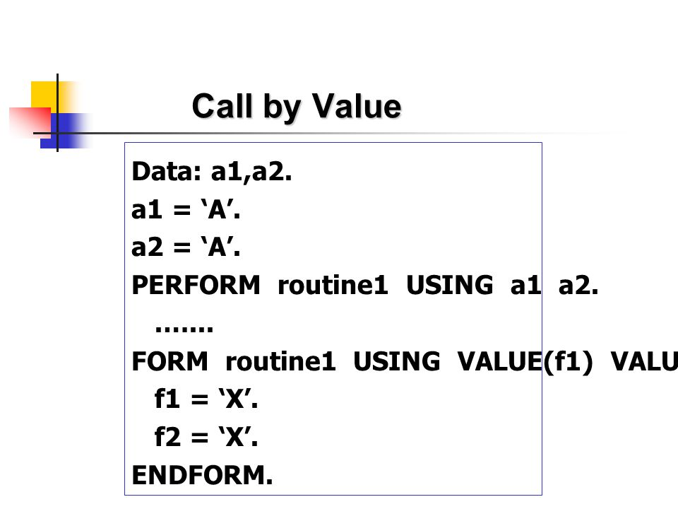 Call by Value Data: a1,a2. a1 = 'A'. a2 = 'A'.