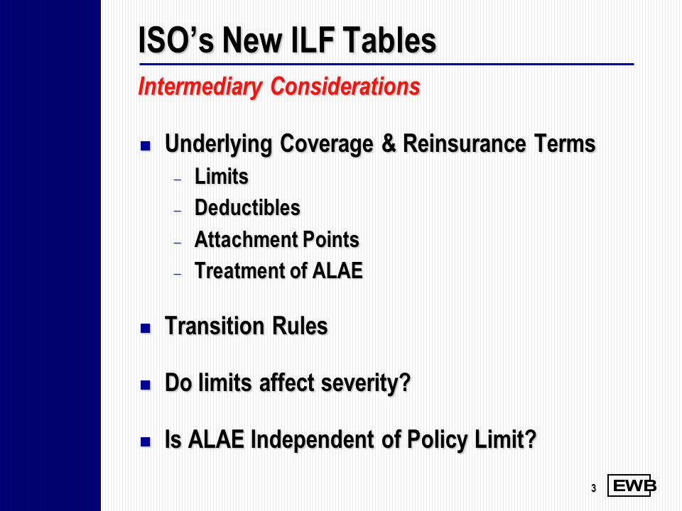 ISO's New ILF Tables Intermediary Considerations