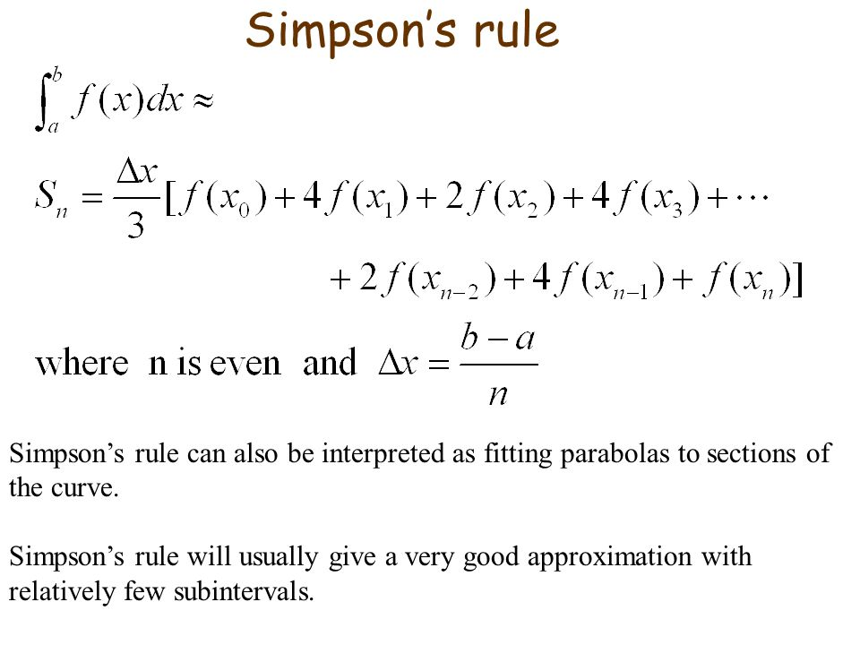 Simpson's rule Simpson's rule can also be interpreted as fitting parabolas to sections of the curve.