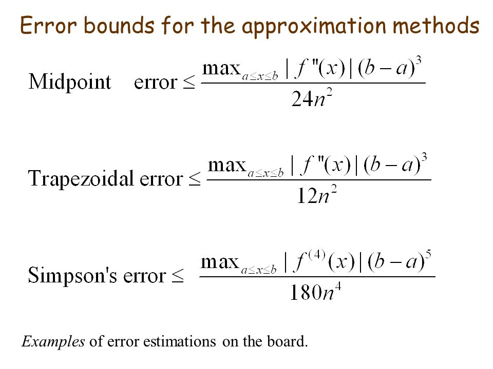 Error bounds for the approximation methods