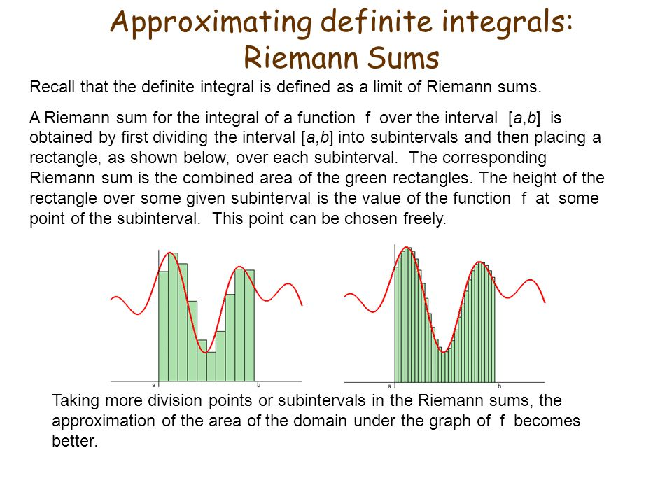 Approximating definite integrals: Riemann Sums
