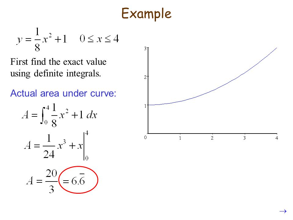 Example First find the exact value using definite integrals.